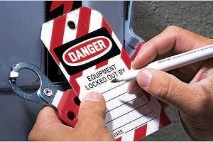 Photo of danger equipment lockout label