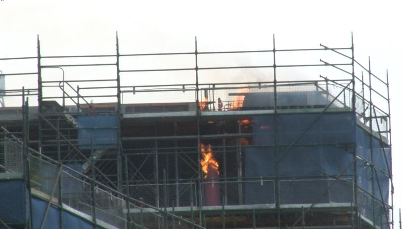 photo of construction site fire